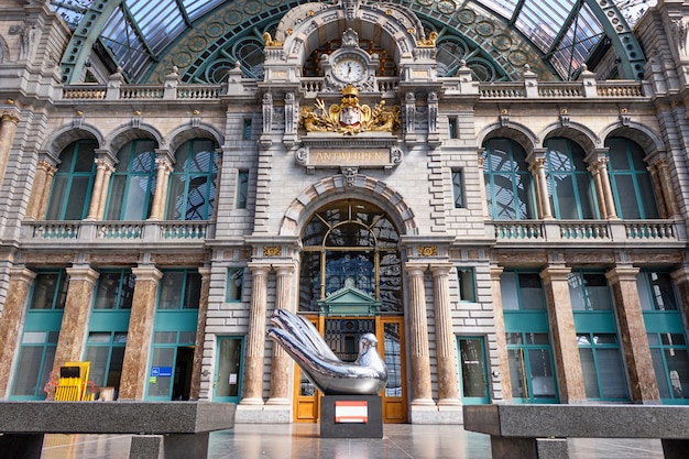 Famous antwerp central station interior in belgium
