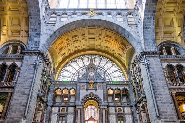Famous antwerp central station interior with unique design