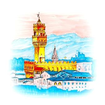Знаменитая башня арнольфо палаццо веккьо на пьяцца делла синьория на закате с пьяццале микеланджело во флоренции, тоскана, италия. рисунок сделал лайнер и маркеры