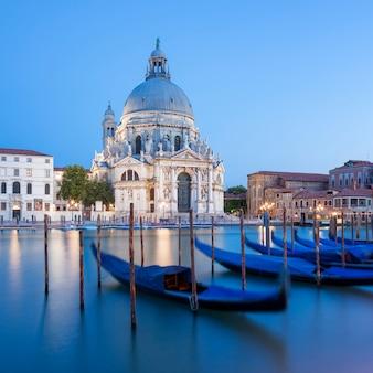 Famous basilica di santa maria della salute and gondola.