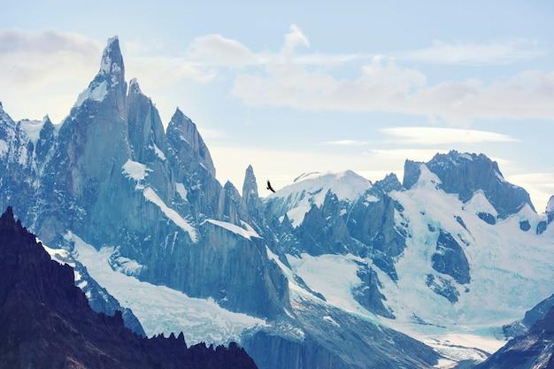 アルゼンチンのパタゴニア山脈にある有名な美しい山頂セロトーレ。南アメリカの美しい山の風景。