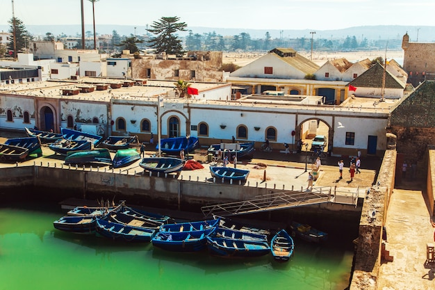 Famous blue boats in the port of essaouira.