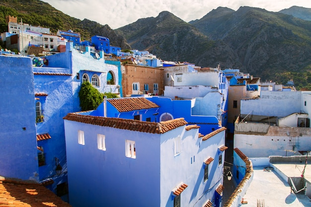The famous blue city of chefchaouen, top view.