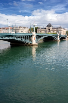 Famous bridge in lyon city, france, in summer