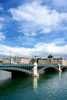 Famous bridge on the rhone river in lyon city