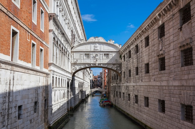 Famous bridge of sighs in venice, italy