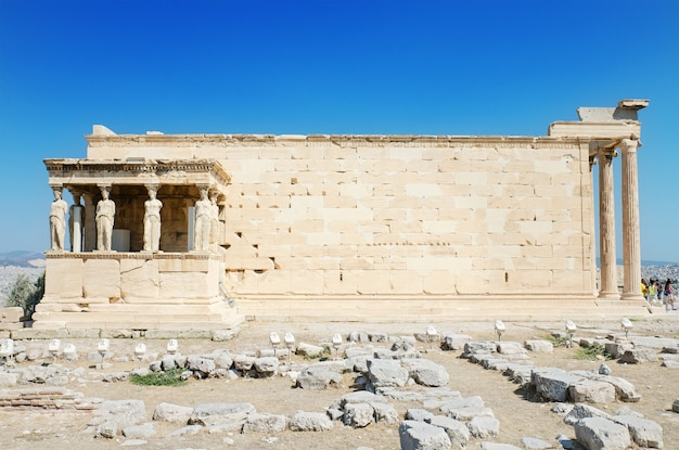 Famous cariathides temple in the acropolis, athens, greece.