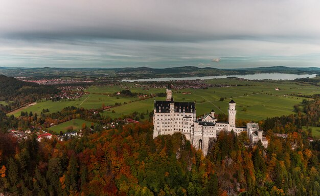 Famous castle in the town of fussen in germany in autumn