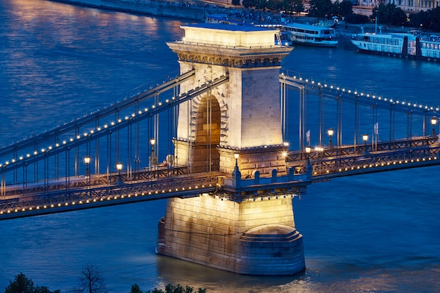 Famous chain bridge at night in budapest