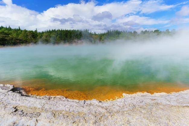 The famous champagne pool wai-o-tapu geothermal area , rotorua, north island of new zealand