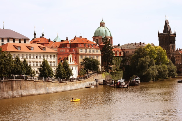 Famous charles bridge and tower, prague