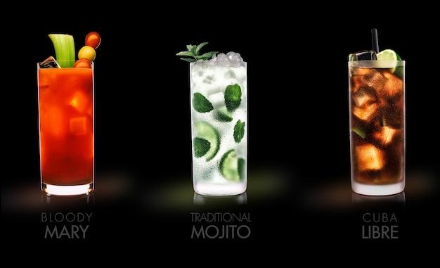 有名な飲み物(ブラッディマリー、モヒート、キューバリブレ)-黒い表面