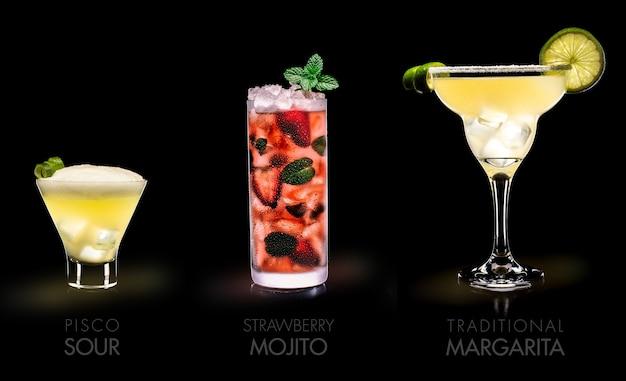 有名な飲み物(ピスコサワー、モヒートストロベリー、マルガリータ)-黒い表面