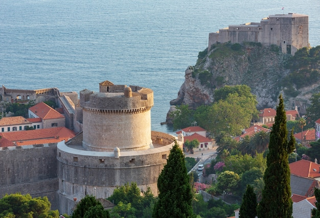 Famous dubrovnik old town summer view with fortress and minceta tower (croatia).
