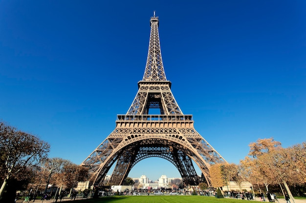 ゴージャスな色のパリの有名なエッフェル塔