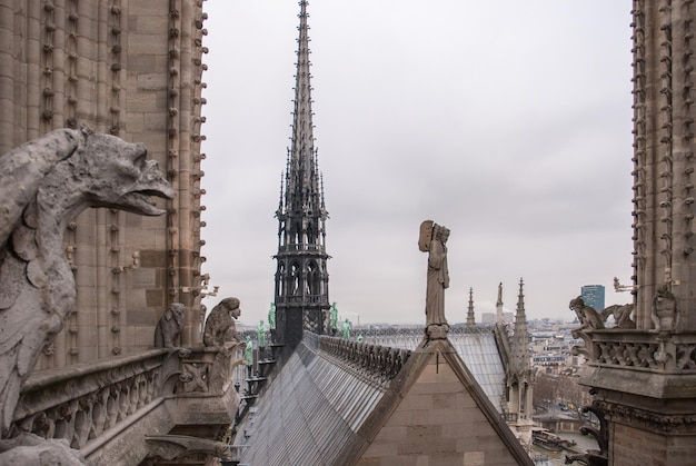Famous figures of gargoyles and angel of notre dame over paris aerial