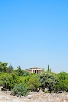Famous greek temple against clear blue sky in greece