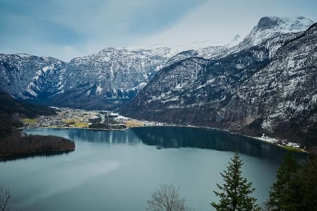 Famous hallstatt mountain, village and alpine lake