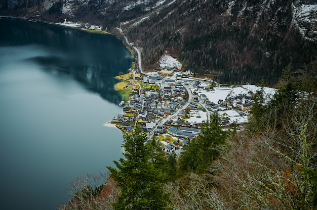 Famous hallstatt mountain village and alpine lake
