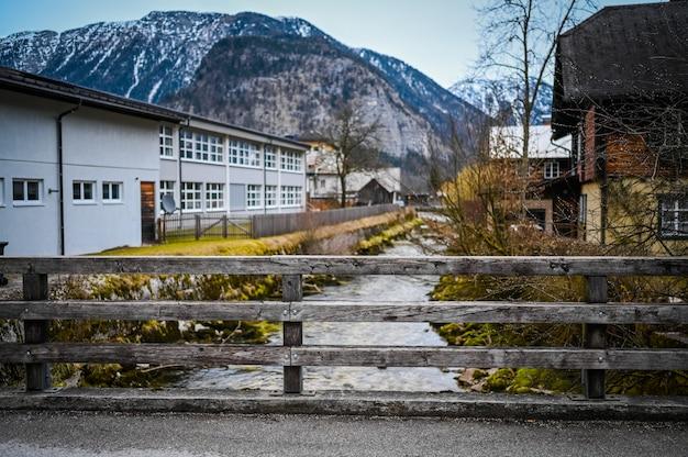 Famous hallstatt mountain village and river