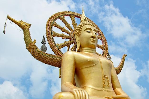 Знаменитая историческая статуя будды, касающегося неба в храме ват пхра яй, таиланд