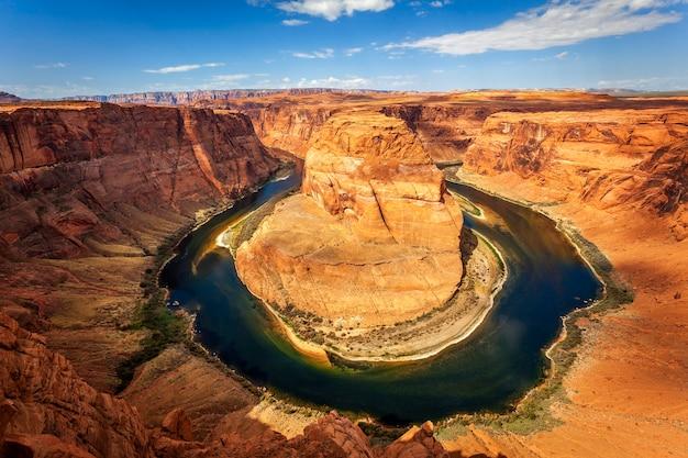 Famous horizontal view of horseshoe bend, usa