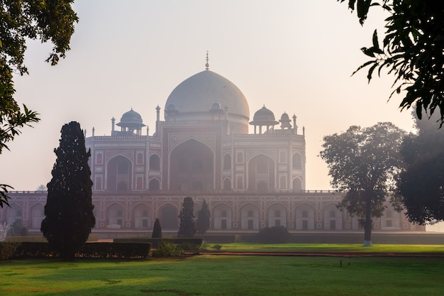 Famous humayun's tomb of india, new delhi downtown.