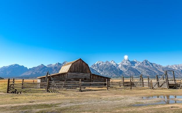 Famous landmark, mormon row historic in grand teton national park