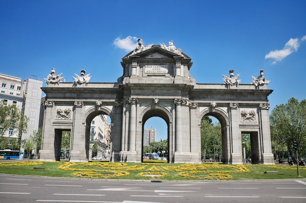 Famous landmark puerta de alcalá in madrid, spain.