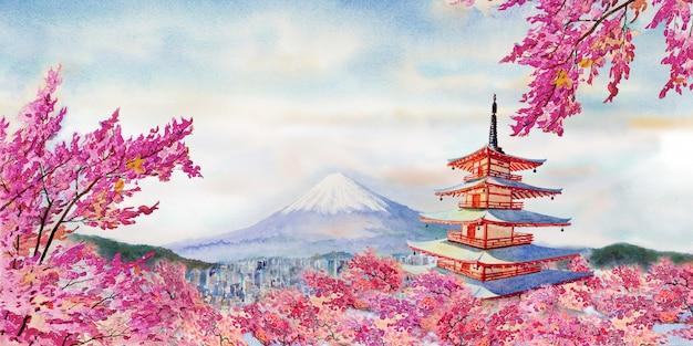 Famous landmarks of japan in spring.