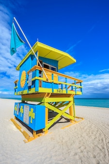 Famous lifeguard house in a typical colorful art deco style, miami beach