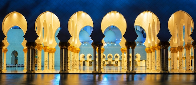 Famous mosque, abu dhabi, at night, panoramic view.