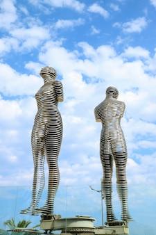 The famous moving lovers sculpture of ali and nino in the city of batumi, adjara region, georgia