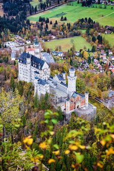 Famous neuschwanstein castle autumn top view from the viewpoint in the forest, bavaria, germany