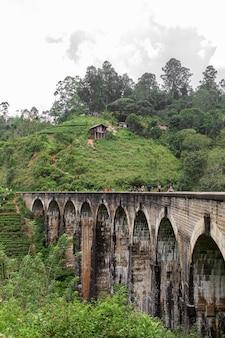 The famous nine-arch bridge of the railway in the jungle in sri lanka
