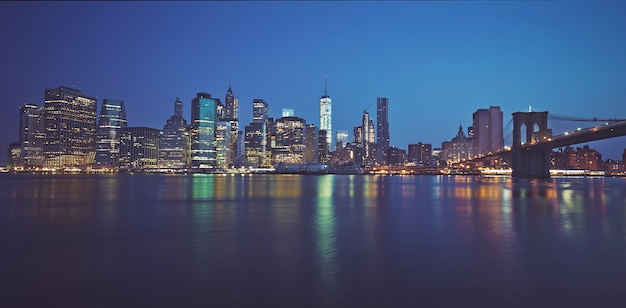 Famous panoramic view of new york by nigh