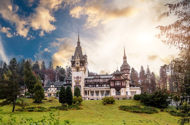 Famous peles castle in romania at sunset