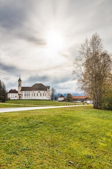 Famous pilgrimage church wieskirche view in bavaria, germany