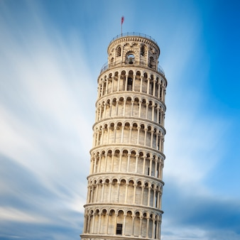 Famous pisa leaning tower, italy.