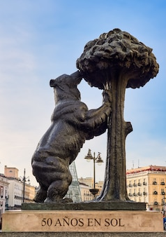 Famous puerta del sol, with the statue of the bear and the madroño,in madrid, spain