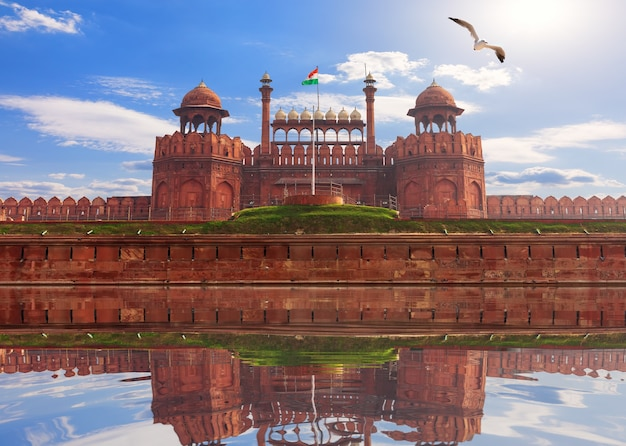 Famous red fort of delhi, india, sunny day view.