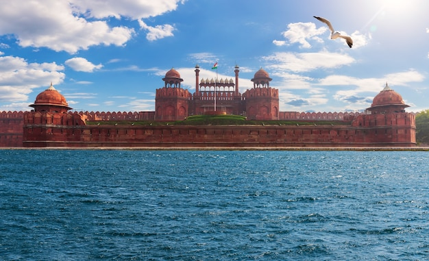 Famous red fort in new delhi, india, photo fiction.