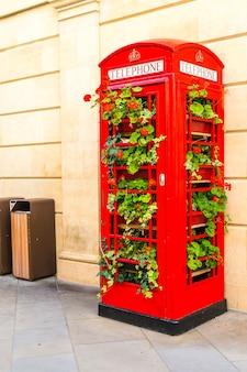 Знаменитая красная телефонная будка в лондоне с листьями