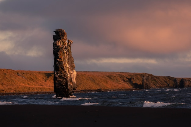 Famous rhino rock named hvitserkur next to osar in north iceland.