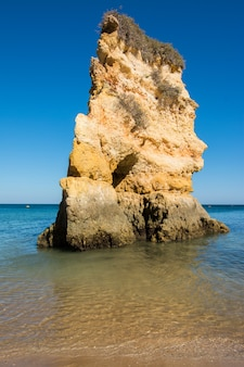 Famous rocks in sea, ocean, lagos in portugal.