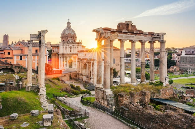 Famous roman forum in rome, italy during sunrise.