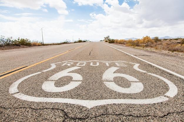 Famous route 66 landmark on the road in californian desert
