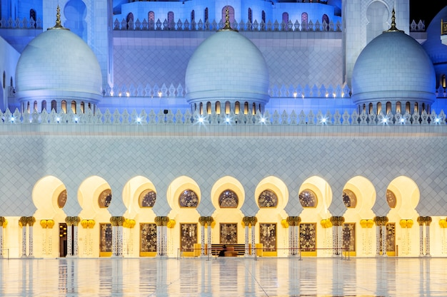In the famous sheikh zayed grand mosque by night, uae