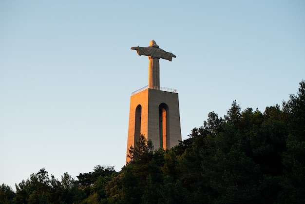 Famous statue of jesus christ in sunlight