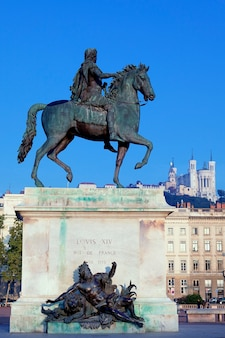 Famous statue of louis and fourviere basilic